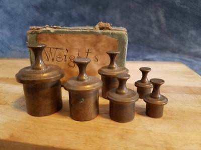 Antique Solid Brass Scale Weights