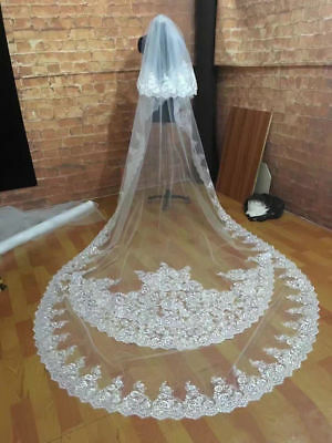 Ivory White Wedding Veils Cathedral 2T Comb Bridal Veil Accessories Cover Face