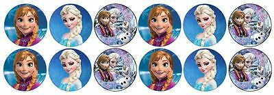 Frozen - Anna & Elsa -  Edible Image ICING cupcake Toppers x 12
