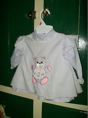 """Vintage lavender baby dress & pinafore applique of a bear """"""""i luv you"""""""