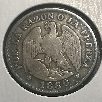 1880 Chile Silver 20 Centavos Better Coin