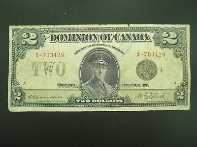 Large 1923 Canada $2 Two Dollar Currency Note **NO RESERVE**