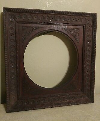 Antique 19th c Victorian Carved Oak Photo Picture Frame Round Opening