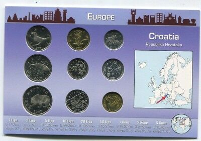 Croatia Republika Hrvatska Coin Set 9 Coins in  Original Littleton Holder