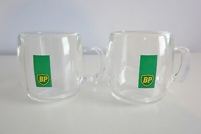 BP British Petroleum Clear Acrylic Coffee Mugs Set of 2 Advertising Collectible