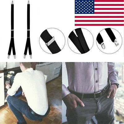 Men's Shirt Stays Holders Elastic Garter Belt Suspender Locking Clamps US Stock