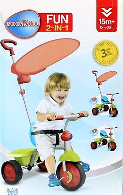 Toddlers Trike With Parent Handle Sunshade & Seatbelt  Fun 2-in-1 Bright Colours