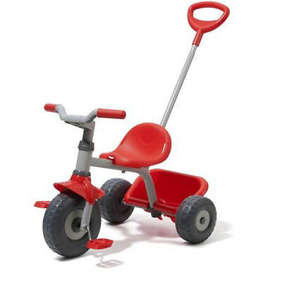 Red Trike With Parent Handle Toddlers Ride-On Tricycle With Carry Tray