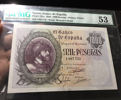 【PMG53】Spain 1000 Pesetas 1940 P-125a very scarce banknote top grade!