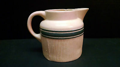 ANTIQUE HULL YELLOW WARE Pitcher Green Band Stripes Vintage  #1