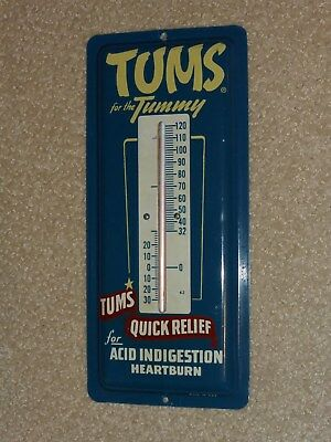 Antqe/Vtg Adv,TUMS for the TUMMY,QUICK RELIEF, Sign,1938, Thermometer, Org NR-MT