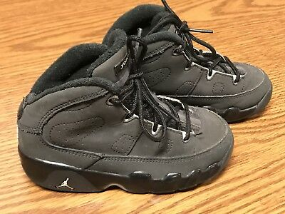 7614a0c91bb06a Nike 401812-013 Air Jordan Retro 9 Black Gray Toddler Basketball Shoes Sz 9C