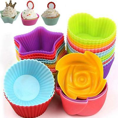 6X Mode Muffin Molds Muffin Mold Baking Molds Silicone Cup Cake Cake Set^