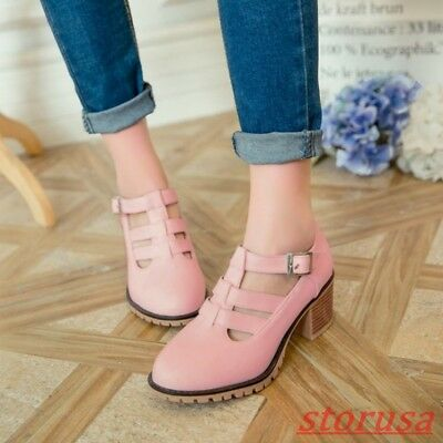 Womens PU Leather Block Heels Preppy Brogue Shoes Hollow Buckle Strap Roma Shoes
