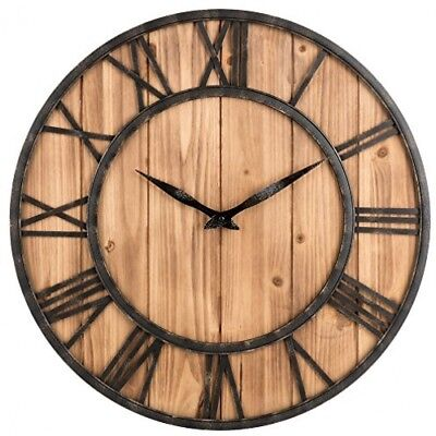 Large Wall Clock Vintage Farmhouse Roman Numeral Rustic Antique 24 Wooden
