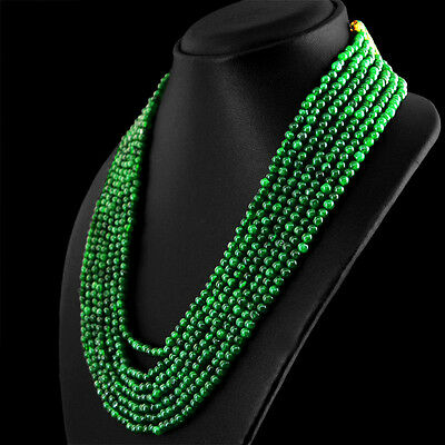 606.80 Cts Earth Mined 7 Strand Green Emerald Round Shape Beads Necklace (Dg)