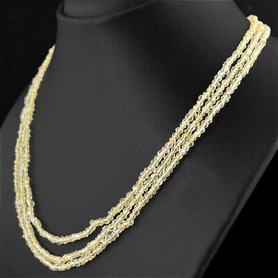 151.00 Cts Natural 3 Line Yellow Citrine Round Shape Faceted Beads Necklace