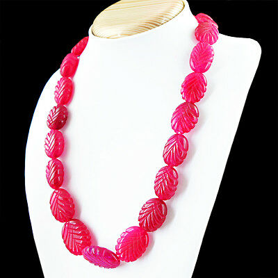 RS 347.50 CTS EARTH MINED OVAL SHAPE RED RUBY BEADS SINGLE STRAND NECKLACE