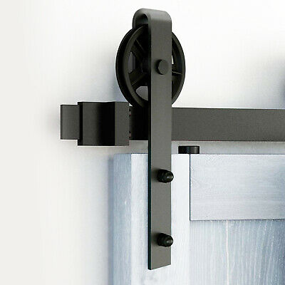 6.6 FT Sliding Barn Door Hardware Track Kit Closet Dark With Door Handle Lock