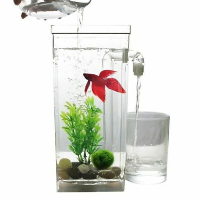 LED Mini Fish Tank Aquarium Self Cleaning Fish Tank Bowl Convenient Desk Aq P7L8