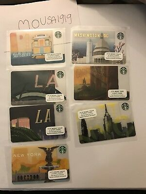 7 NEW STARBUCKS 2018 City and State GIFT CARDS LOT GREETING CARD LIMITED