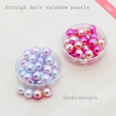 1000p3mm Mermaid Round Sew on Acrylic Pearl Charm Spacer Loose Beads Jewelry DIY