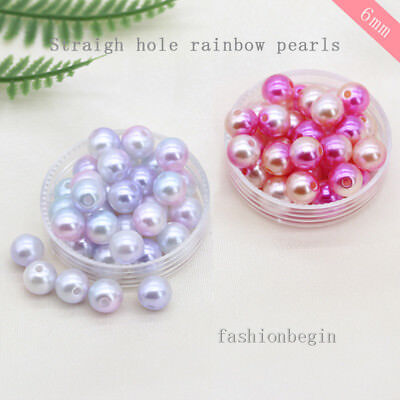 300p 6mm Round Assorted Spacer Beads Sew on Acrylic Pearl Beading Jewelry Making