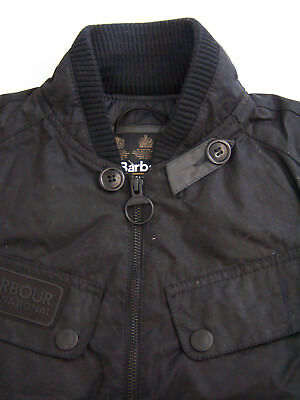 Barbour Sprocket Jacket Men's Small Black Wax Bomber MWX0742BK71 Vtg BBt129 #