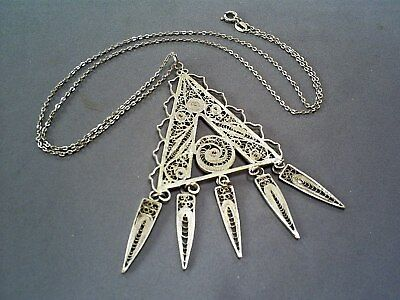 Lovely Vintage Art Deco Sterling Silver Filigree Articulated Pendant & Chain