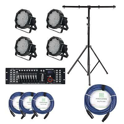 LED Floodlight DJ PA Stage Lighting Kit USB DMX Controller Support Stand Cables