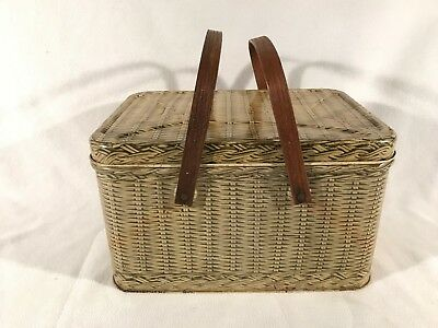 Vintage Decoware Tin Litho Picnic Basket Wood Handles Metal Faux Wicker Weave