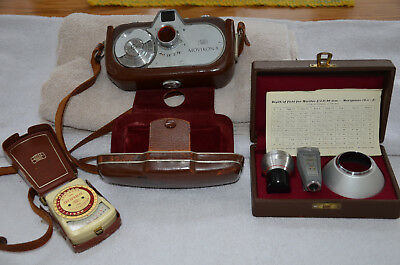 ZEISS IKON MOVIKON 8 mm MOVIE CAMERA, WIDE ANGLE KIT AND LIGHT METER