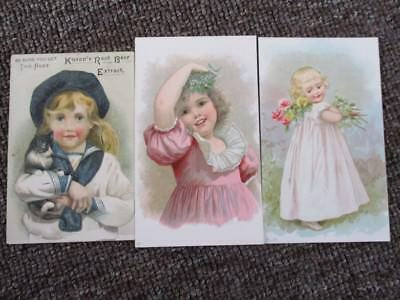 """3 Old VICTORIAN KNAPP""""S ROOT BEER TRADE CARDS...#1"""