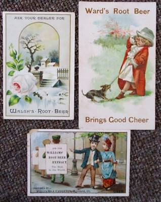 3 Old VICTORIAN ROOT BEER TRADE CARDS....Walsh's, Ward's, & William's
