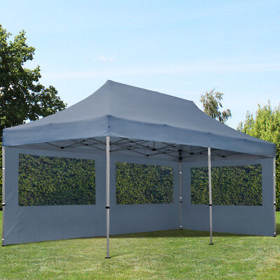 outflexx profi hardtop pavillon grau aluminium 3 x 3 6m mit seitenteilen und eur 787 90. Black Bedroom Furniture Sets. Home Design Ideas