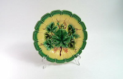 Antique French Majolica Plate c.1890 Hand Painted Decoration of Vine Leaves