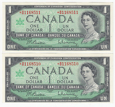 Lot of 2 Consecutive 1967 Bank of Canada $1 Replacement Note - * B/M1168510-11