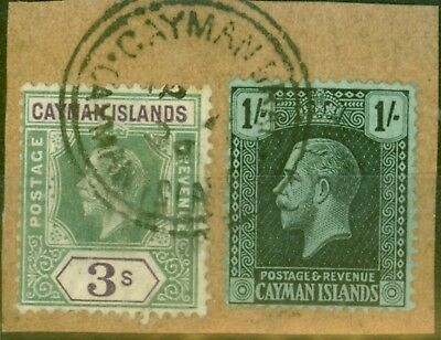 Cayman Islands 1912 & 1921 3s & 1s SG50 & 63 V.F.U on Piece