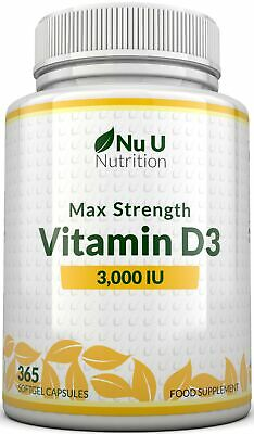 Vitamin D3 3,000 IU 365 Softgels, 1 Year 3000iu Triple Strength High Absorption