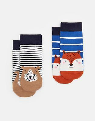 Joules 124732 Baby Boys Two pack Thermo Regulating Bamboo Socks in Fox