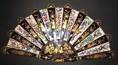 Superb Antique Chinese Gold Lacquer Hand Embroidered Paradise Birds Silk Fan