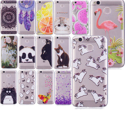 Patterned Clear Slim Soft TPU Silicone Back Case Cover For Xiaomi Redmi 4X 4A 5A