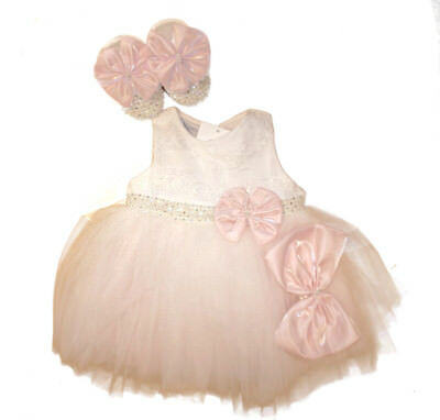 Stunning Baby Girls Romany Bows & Diamante Occasion Dress Shoes  Headband Outfit