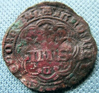 Medieval Portugal REAL DE 3 1/2 LIBRAS ?  c. 1300s-1400s Old Coin to ID