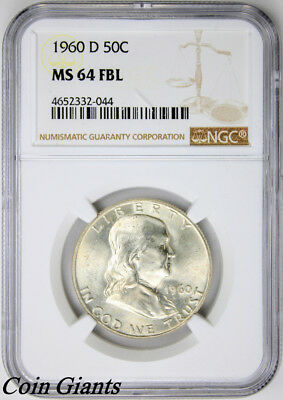 1960-D Franklin Half Dollar NGC MS 64 FBL Key Denver Mint Coin Silver BU 50c