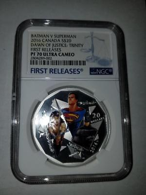 2016 Canada $20 BATMAN V SUPERMAN NGC PF70 RARE POP ONLY 17 FIRST RELEASE