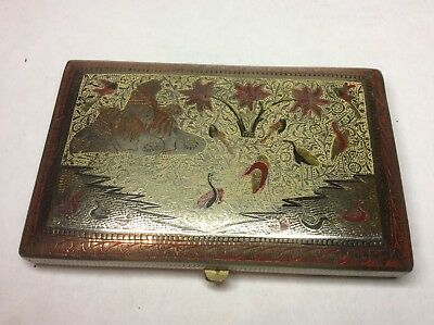 Vintage Persian Silver Cigarette Case Featuring Lions And Birds