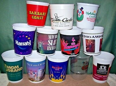 Vintage Lot Of 12 Las Vegas Casino Plastic Coin Cups/buckets~From The 1990S