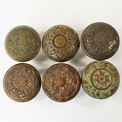 Lot of 6 Ornate Vtg Victorian Eastlake Brass Bronze Iron Door Knobs
