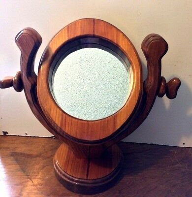 Antique Wooden Shaving / Dresser Mirror Framed & Free Standing